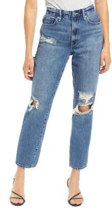 Good American Good Vintage Ripped Ankle Straight Leg Jeans