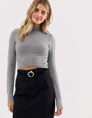Hollister high neck jumper with wrap detail-Grey