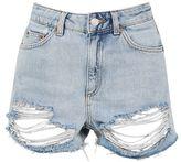 Topshop Moto high waisted rip denim mom shorts