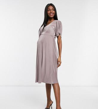 ASOS DESIGN Maternity Nursing plisse cross front midi dress