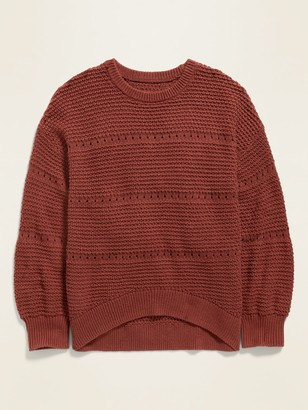 Old Navy Textured Pointelle Hi-Lo Hem Sweater for Girls