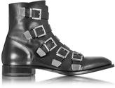 Cesare Paciotti Black Leather Combat Boots