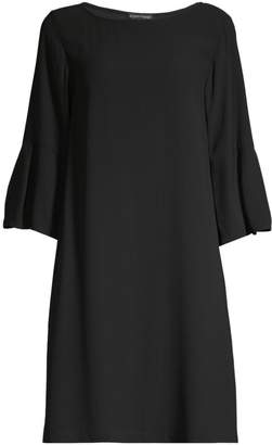 Eileen Fisher Bateau Bell-Sleeve Silk Shift Dress