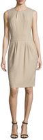 Oscar de la Renta Wool Pleated Sheath Dress
