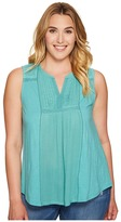 Lucky Brand Plus Size Embroidered Pintuck Tank Top Women's Sleeveless