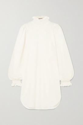 AVAVAV Ruffled Smocked Cotton And Silk-blend Poplin Mini Dress - White