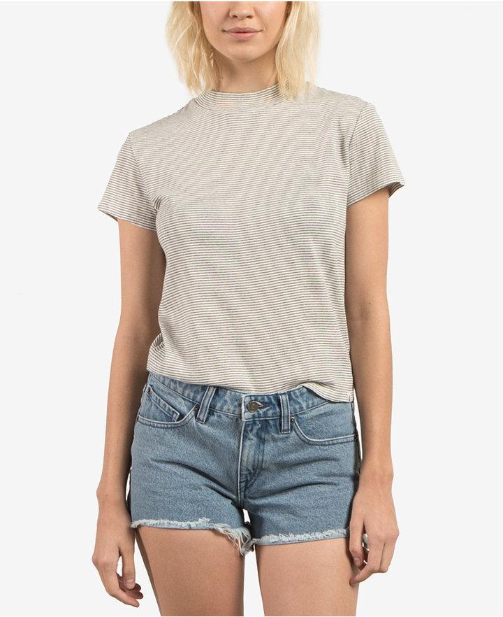 Volcom Juniors' She Shell Printed Mock-Neck T-Shirt