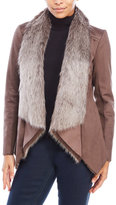 BCBGeneration Faux Shearling Draped Open Front Jacket