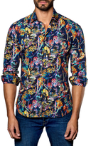 Jared Lang Spread Collared Botanical Print Sportshirt