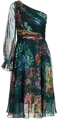 Marchesa Floral Print Chiffon & Charmeuse Cocktail Dress