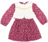 Little Lass Wine Floral A-Line Dress & Vest- Infant