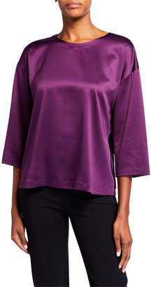Eileen Fisher Plus Size Solid 3/4-Sleeve Polyester Satin Top