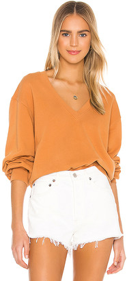 A Gold E V Neck Balloon Sleeve Sweatshirt