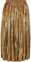 Mes Demoiselles Sadiola Pleated Silk And Lurex-blend Midi Skirt