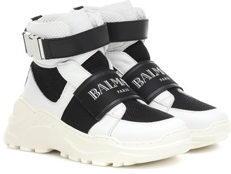 Balmain Kids Mesh and leather sneakers