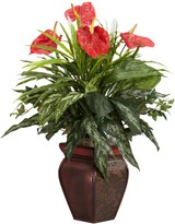 Nearly Natural Silk Mixed Greens & Anthurium Plant