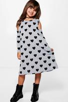 Boohoo Girls Knitted Heart Print Swing Dress