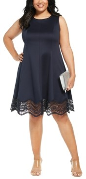 Jessica Howard Plus Size Lace-Trim Fit & Flare Dress