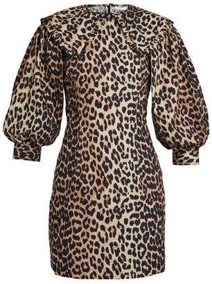 Ganni Cotton Leopard Print Dress