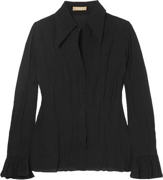 Michael Kors Crinkled Silk-crepe Shirt