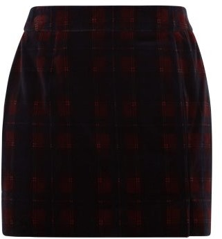 Bella Freud Tartan Cotton-velvet Mini Suit Skirt - Burgundy