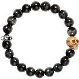 King Baby Studio 10mm Blue Tiger Eye Bead Bracelet with Bone Skull