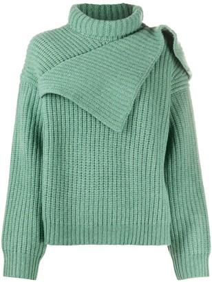 Christian Wijnants Asymmetric Ribbed-Knit Jumper