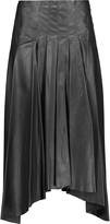 Vionnet Pleated leather midi skirt