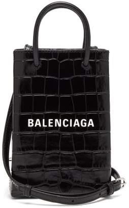 Balenciaga Shopping Phone Holder Croc-effect Leather Bag - Womens - Black