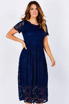 NEW bird by design Womens Calf Length Dresses The Scallop Lace Dress Navy