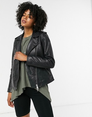 AllSaints Elva leather biker jacket in black