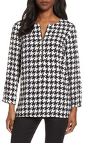Chaus Women's Zip Front Houndstooth Blouse