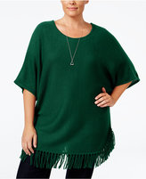 NY Collection Plus Size Knit Fringe Poncho Sweater