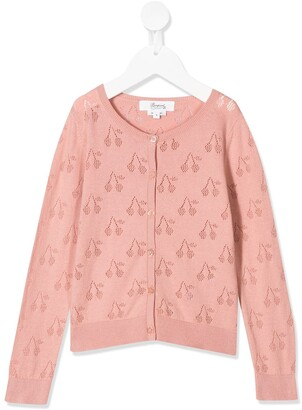 Bonpoint Cherry Embroidered Cardigan