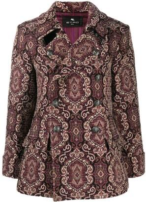 Etro Jacquard Double Breasted Coat