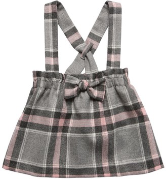 Il Gufo Check Skirt W/ Suspenders