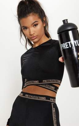PrettyLittleThing Black Cross Front Long Sleeve Gym Top