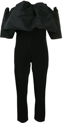Cushnie Off-The-Shoulder Puff Silk Jumpsuit