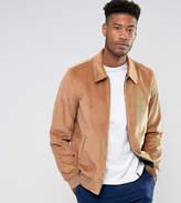 Asos Tall Cord Harrington Jacket In Tan