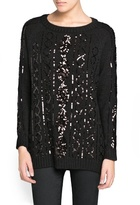 MANGO Outlet Sequined Cable-Knit Wool-Blend Sweater