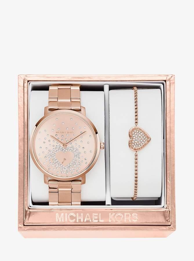 Michael Kors Jaryn Rose Gold-Tone Watch and Bracelet Set