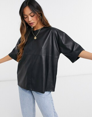 ASOS DESIGN oversized t-shirt in leather look in black