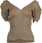 Chloé Bronze Short Sleeve V-Neck Top