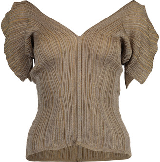 Chloé Bronze Short Sleeve V-Neck Top