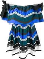 Fendi striped off-shoulder dress - women - Cotton/Silk - 40