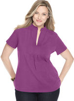 Charter Club Plus Size Top, Short Sleeve Splitneck