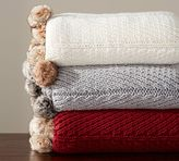Pottery Barn Faux Fur Pom Pom Knitted Throw
