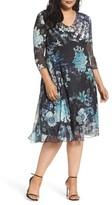 Komarov Plus Size Women's Print Chiffon Dress