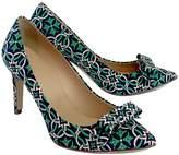 J.Crew J. Crew Green Pink & Navy Print Bow Pumps