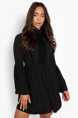 boohoo Boho Crochet Detail Wide Sleeve Smock Dress